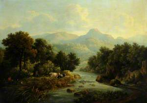 Wooded Landscape with Cows at a Riverbank