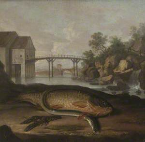 Common Carp, Freshwater Crayfish and Eel, in an Imaginary French Setting (?)