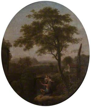 A River Landscape with an Angler and Two Women