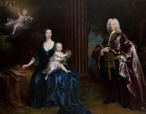 Sir Nathaniel Curzon (1676–1758), 4th Bt Curzon, with His Wife, Mary Assheton (1695–1776), Lady Curzon, and Their Son Nathaniel (1726–1804), Later Nathaniel Curzon, 1st Baron Scarsdale, with Their Dead Son John Curzon (1719–1720), in the Clouds above