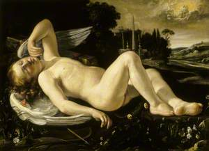 Cupid Asleep Approached by Venus in Her Chariot
