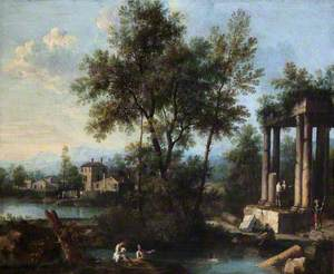 Landscape with Figures by Classical Ruins