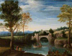 River Scene with Fortified Bridge and Figures in a Boat