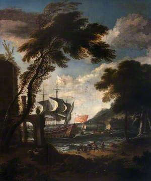 A Seaport with Men o' War, Boats and Figures