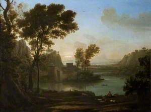 A Winding River with Buildings, Pastoral Figures and Sheep in the Foreground
