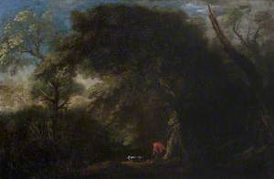 Wooded Landscape with Huntsmen and a Dog