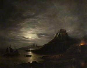 Lindisfarne Castle and Abbey, Holy Island, by Moonlight
