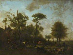 Horses, Sheep and Cattle before a Cottage