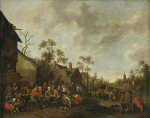 Village Scene with Feasting and Merrymaking