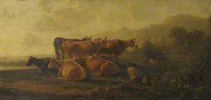 Cattle with a Sleeping Cowherd