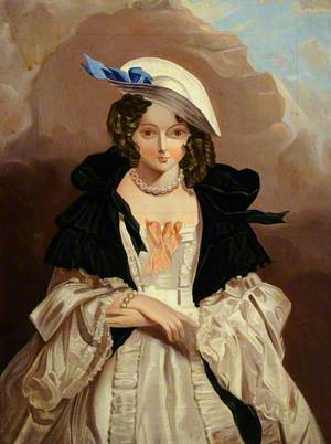 Portrait of an Unknown Woman in a Black Tippet, Straw Hat and Pearls