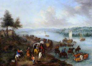 River Landscape with Horsemen and Carts on a Road