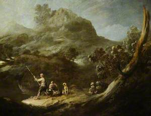 Rocky Wooded Landscape with Two Fisher Boys and a Dog