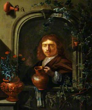 A Man at a Window Holding an Earthenware Jug