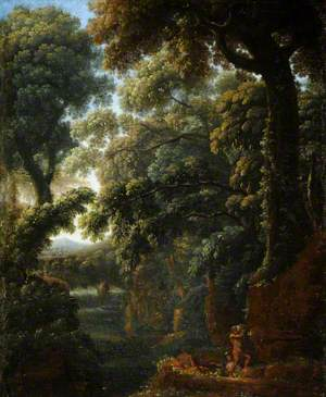 Wooded Landscape with Figures Bathing by a Cascade