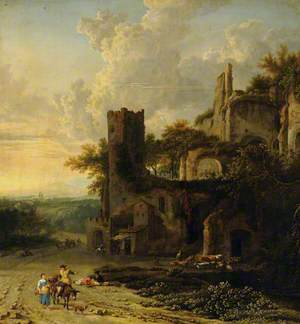 An Italian Landscape with Peasants by a Ruined Castle