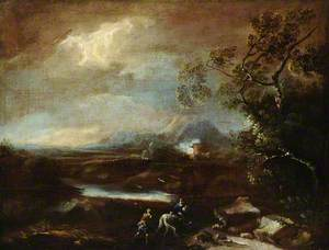 Stormy Mountainous Italianate Landscape with Travellers