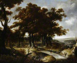 Wooded Landscape with a Traveller Crossing a Bridge