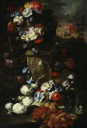 A Garland of Flowers with Ruined Masonry
