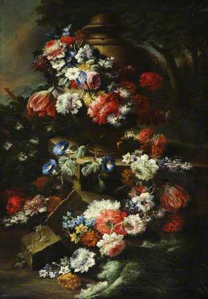 A Garland of Flowers Draped around an Urn