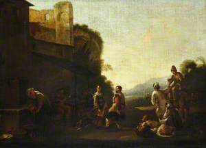 An Italianate Landscape with Peasants Dancing