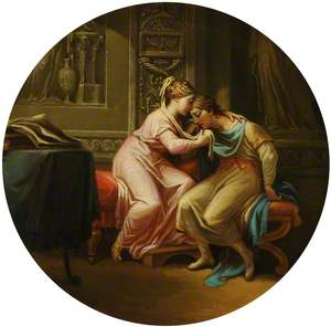 Mythological Subject with a Couple in an Embrace