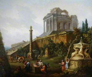 Capriccio with a Pagan Temple and a Sacrifice