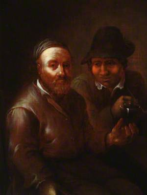 A Man Holding a Goblet with a Man Smoking