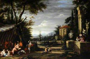 Bacchanal in a Garden, with the Temple of Vesta and a Fountain