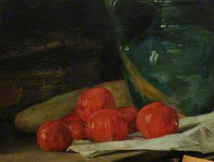 Still Life with Tomatoes by a Green Jug