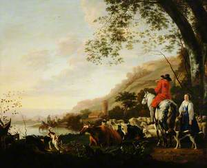 A Hilly River Landscape with a Horseman Conversing with a Shepherdess