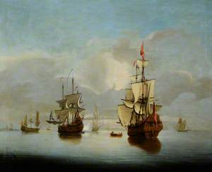 A Becalmed Seascape with Two Men-of-War