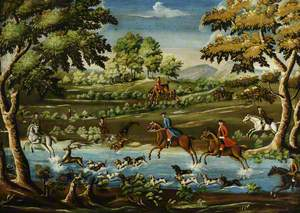 Huntsmen and Hounds Crossing a River in Pursuit of a Deer