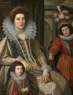 Maria Maddalena (1589–1631), Grand Duchess of Tuscany, with Her Eldest Son Grand Duke Ferdinand II (1610–1670), and Youngest Daughter Anna de' Medici (1616–1676), Later Archduchess of the Tyrol