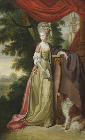 Elizabeth Delaval (1757–1785), Lady Audley, Holding a Book, with a Water Spaniel, in a Landscape