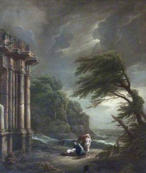 Stormy Seashore with Ruined Temple, Shipwreck, and Figures