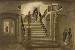 A Grand Staircase with Figures and Statuary