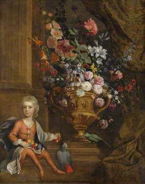 A Floral Still Life, with a Boy Feeding Cherries to Two Parrots