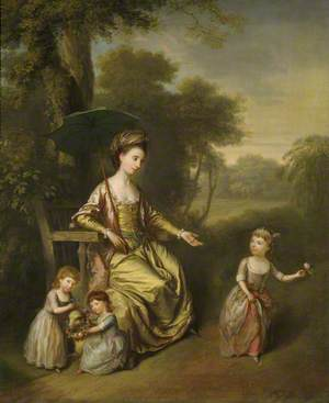 Charlotte Newcomen (c.1747–1817), Lady Gleadowe-Newcomen, 1st Viscountess Newcomen, with Her Daughters Jane, Teresa and Charlotte in a Garden