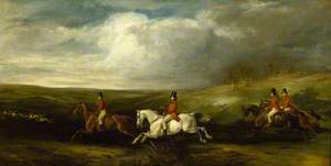 'Full Cry' (The Four Sons of Baron Nathan Mayer de Rothschild Following Hounds)