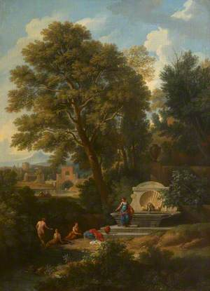 A Classical Landscape with Ladies Bathing near a Fountain