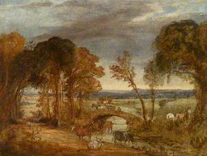 River Landscape with Bridge, Figures and Cattle