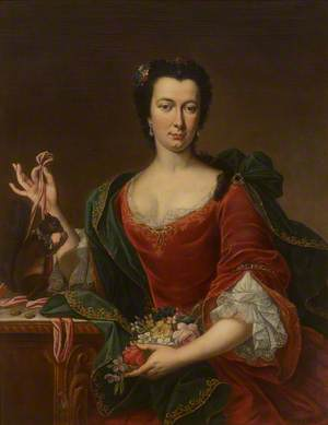 Portrait of an Unknown French Lady Holding Flowers and a Red Squirrel