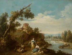 River Landscape with Two Country Women and Four Sheep on a Winding Road, a Fisherman, and Farm Buildings Round an Old Round Tower in the Middle