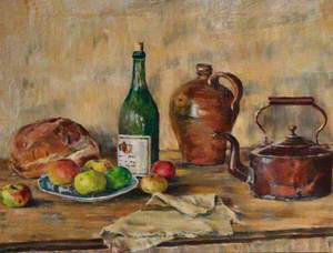 Still Life of Vessels, Bread and Apples, on a Table