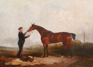 A Bay Mare Held by a Military Groom in a Landscape
