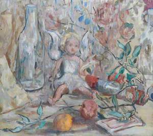 Still Life with a Doll, an Empty Bottle