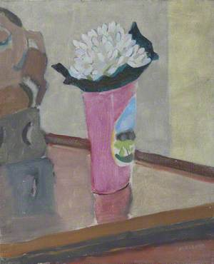 Study of a White Flower in a Pink Vase