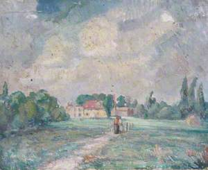 A House in the Country with Two Figures on a Path