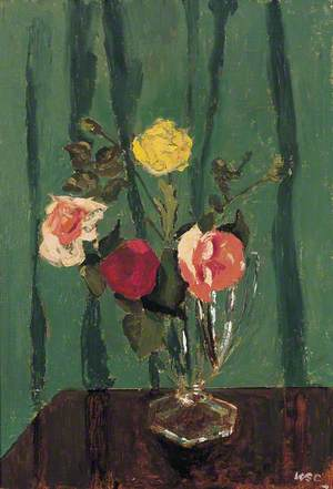 Four Roses in a Glass Vase